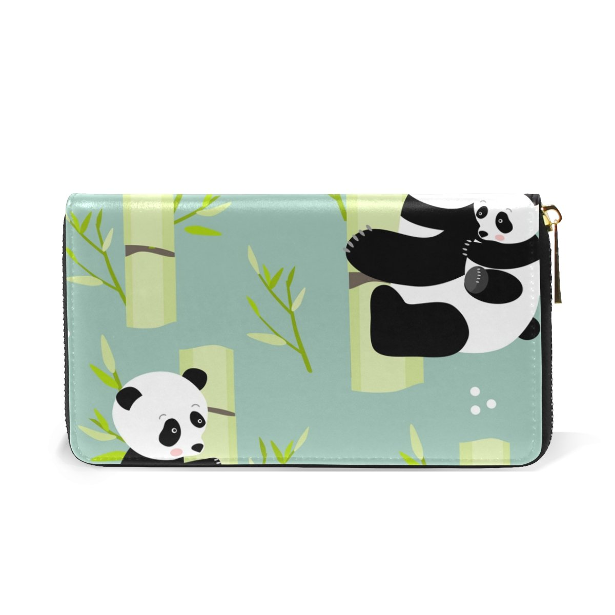 LAVOVO Cute Pandas on a Bamboo Womens Clutch Purses Organizer And Handbags Zip Around Wallet