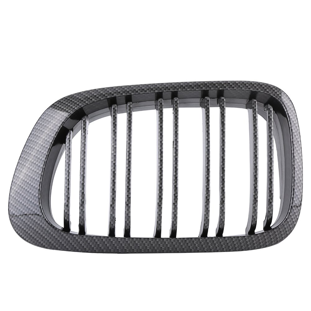 Qiilu Pair Front Carbon Texture Kidney Double Rims Grille Grill