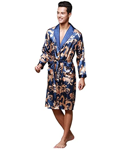 SHIQUNC Logeliy de los Hombres Seda Pijama Manga Larga de Gran tamaño Bata de Noche Masculino