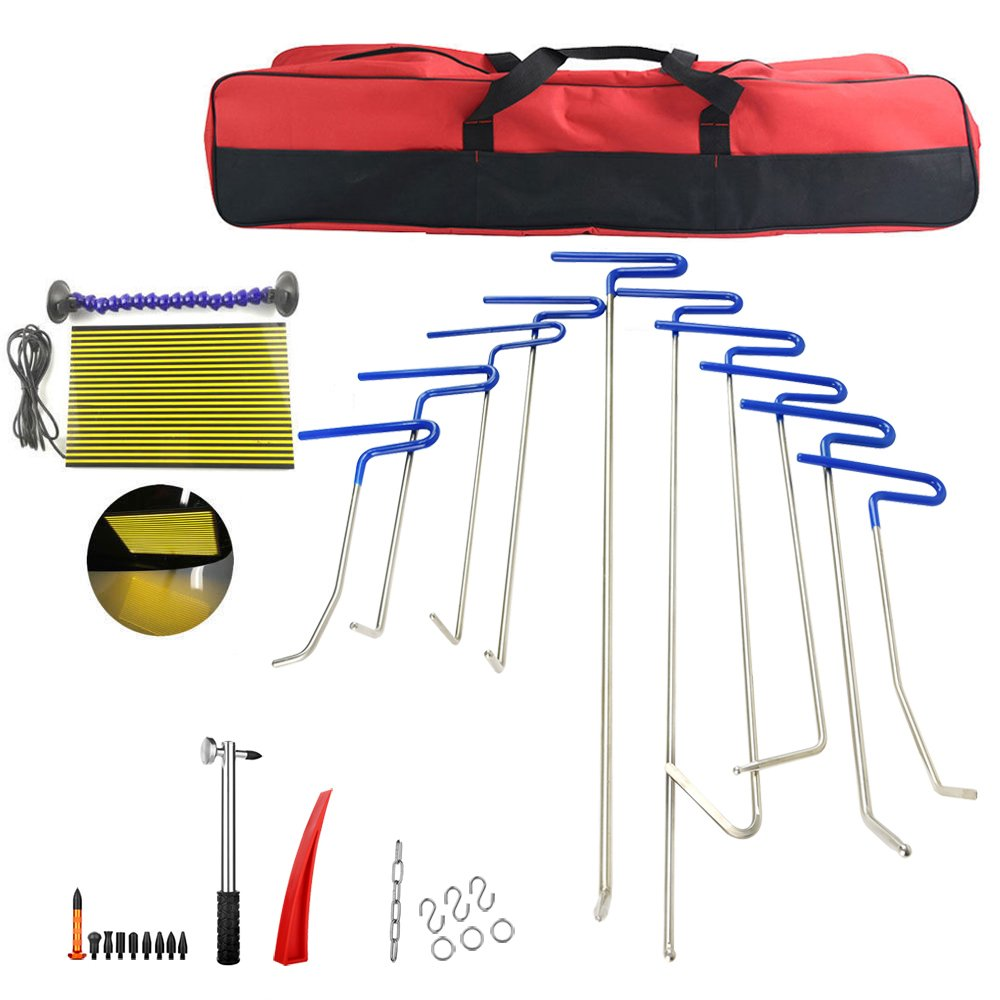 31Pcs Dent Remover Tools Paintless Dent Repair Tools PDR Tools Kit Hail Damage Removal Car Ding Dent Repair Rod Hook Wedge LED Line Board Paintless Hail Removal Dent Puller Tool Dent Remover Kit