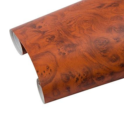 hoho alto brillo grano de madera Textura vinilo adhesivo coche interior muebles oficina (124cmx50 cm