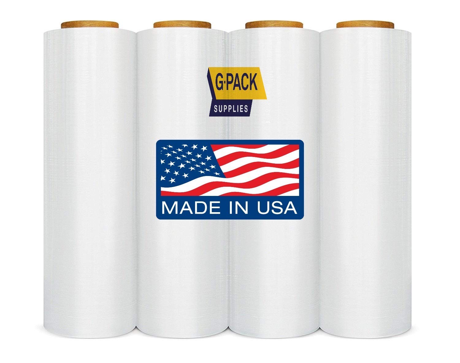 G-Pack Stretch Film 18 in x 1000 Feet Industrial Strength Shrink Wrap Ideal for Packaging, Shipping, Pallet, Hand Clear Plastic Wrap for Furniture, Moving, Boxes 21 Micron, 04 Rolls by G-Pack