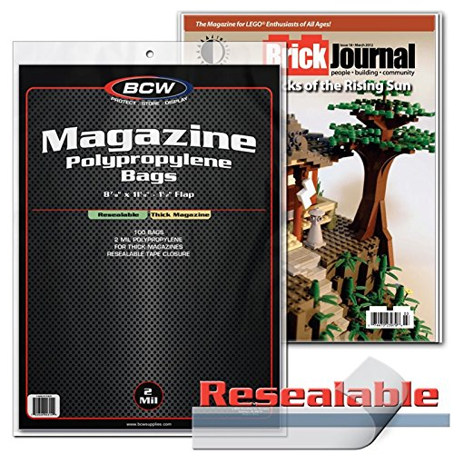 100 Resealable BCW Thick Magazine Poly Bags and 100 Magazine Backer Boards (Bcw Magazine Bags)