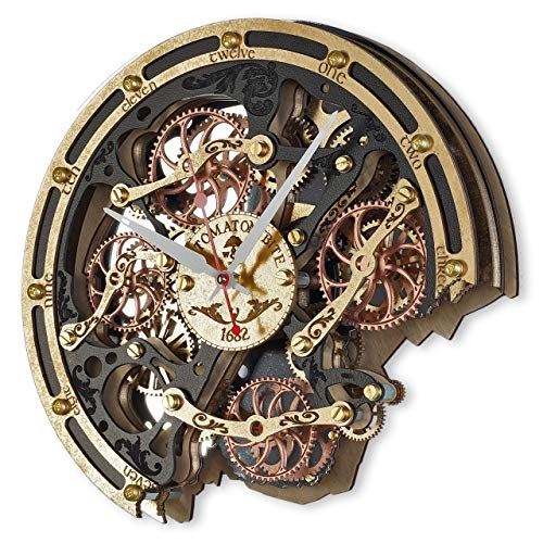 Automaton Bite Black Gold HANDCRAFTED moving gears wall clock by WOODANDROOT industrial steampunk wall clock, unique, personalized christmas gifts, anniversary gift, large wall clock, home decor ()