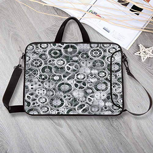 Clock Custom Neoprene Laptop Bag,Realistic Look Cogwheels Mechanism Gear Engineering and Technologic Themed Pattern Decorative Laptop Bag for Men Women Students,15.4