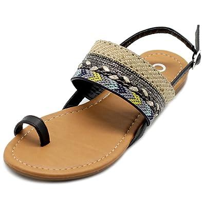 a87a0d5fe46db Ollio Womens Shoes Ethnic Toe Ring Sling Back Boho Flat Sandals DOLLY01 (6  B(