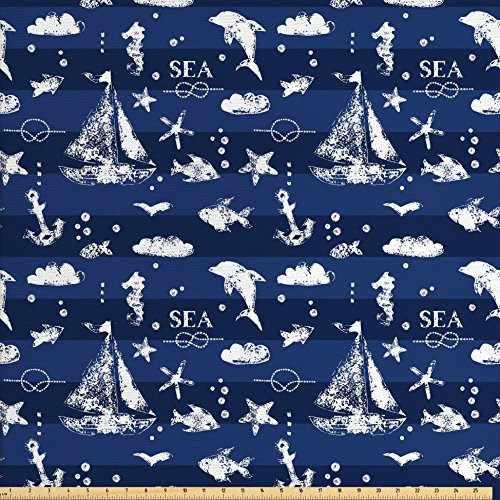 Ambesonne Navy Blue Fabric by The Yard, Sailboat Vertical Stripe Pattern Anchor Fishes Gulls Paint Effect Nautical Theme, Decorative Fabric for Upholstery and Home Accents, Blue White
