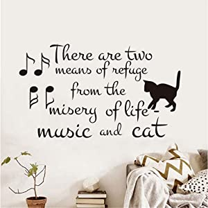 xmksd There are Two Means of Refuge from Life Vinyl Wall Stickers Music and Cat Note Removable Wallpaper Pet Shop Decals Home Decor Size 74Cm43Cm