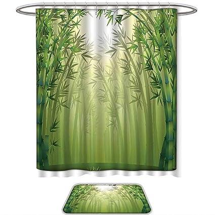QINYAN Home Shower Curtain Set Forest Green Decor Illustration Bamboo Trees In Rainforest Far Eastern