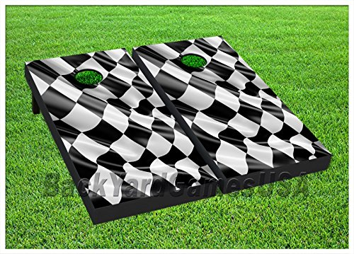 Checkered Flag Cornhole Boards BEANBAG TOSS GAME w Bags Car Racing Flag Set 370