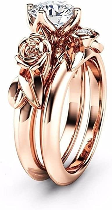 Amazon Com Yjydada Ring New Women Silver Rose Gold Filed White