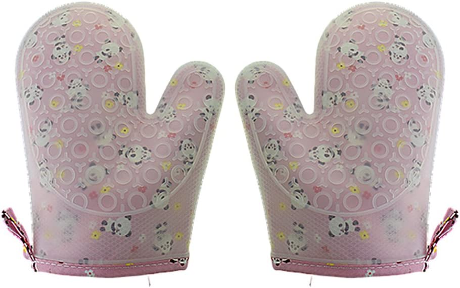 Set of 2 Oven Mitts Heat Resistant Silicone Oven Mitts Cute Panda Print Oven Gloves Waterproof Silicone Kitchen Mitts for Women Pink