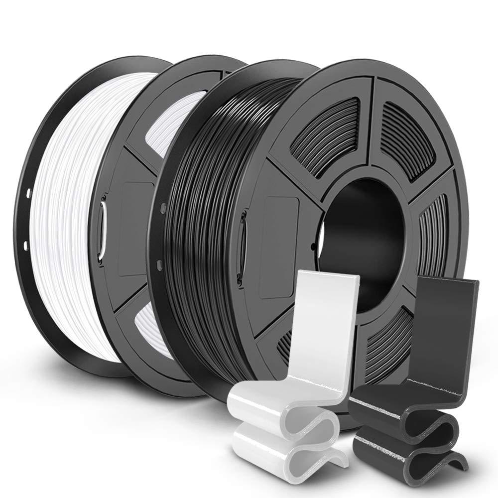 PETG 3D Printer Filament 1.75mm, SUNLU PETG Filament, Dimensional Accuracy +/- 0.02 mm, 1 kg Spool, Pack of 2, Black+White