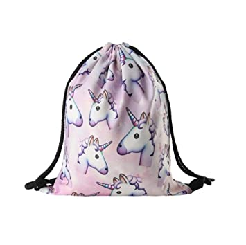 fbe67c4a604f9 Hanessa Unicorn Jutebeutel mit Einhorn Motiv Aufdruck Sportbeutel Tüte  Rucksack Beutel Tasche Gym Bag Gymsack für