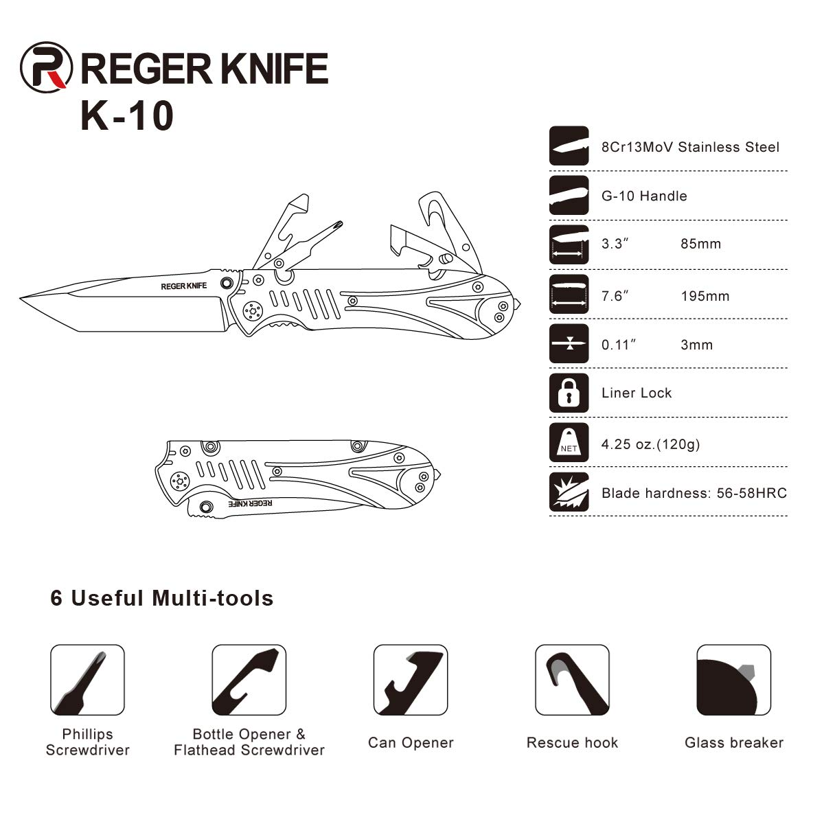 Pocket Folding Knife, RegerKnife High-Performance 8Cr13MoV Steel Blade and High-Hardness G10 Handle, 6 Multi-Function Tools Extra Waterproof Storage Bag for Camping,Hiking,Hunting & Fishing