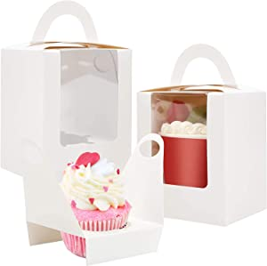 80 Pcs Individual Cupcakes Boxes, Farielyn-X Portable Single White Paper Cupcake Holder Containers Carrier, White Muffin Gift Boxes with Window Inserts Handle, for Wedding Birthday Party Candy Boxes