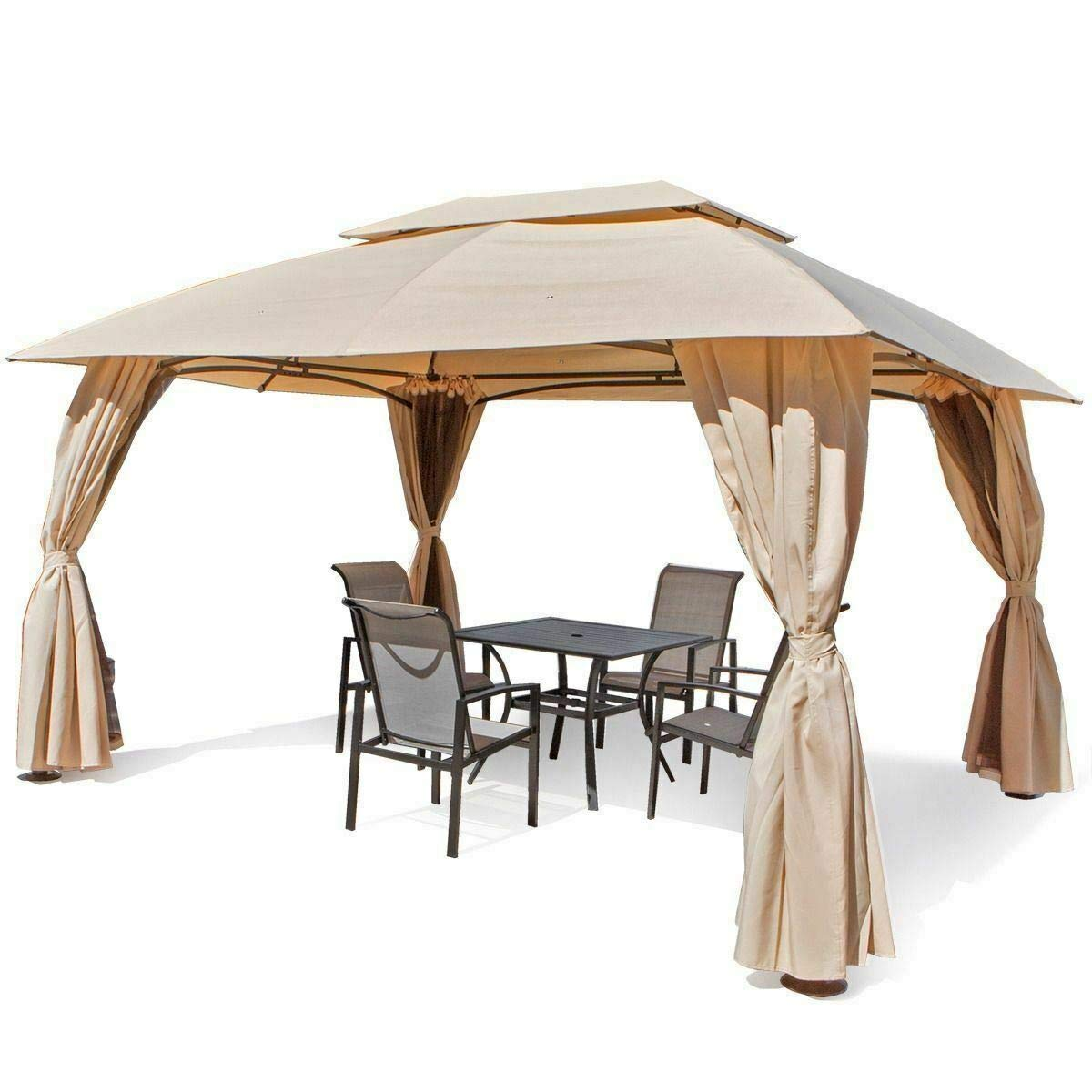 Elegant Design, Add A Bold Impact To Your Favorite Outdoor Area Outdoor Home 10′ X 10′ Backyard Garden Awnings Patio Gazebo Canopy Tent Netting 2 Tiers Awning Shelter Mosquito Net, Coffee