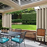 cololeaf Blackout Outdoor Curtains for Patio Water Resistant Thermal Insulated Privacy Protect Panel Drapes Grommet at top and bottom Shade Drapes for Porch,Beige 100W x 84L Inch (1 Panel)