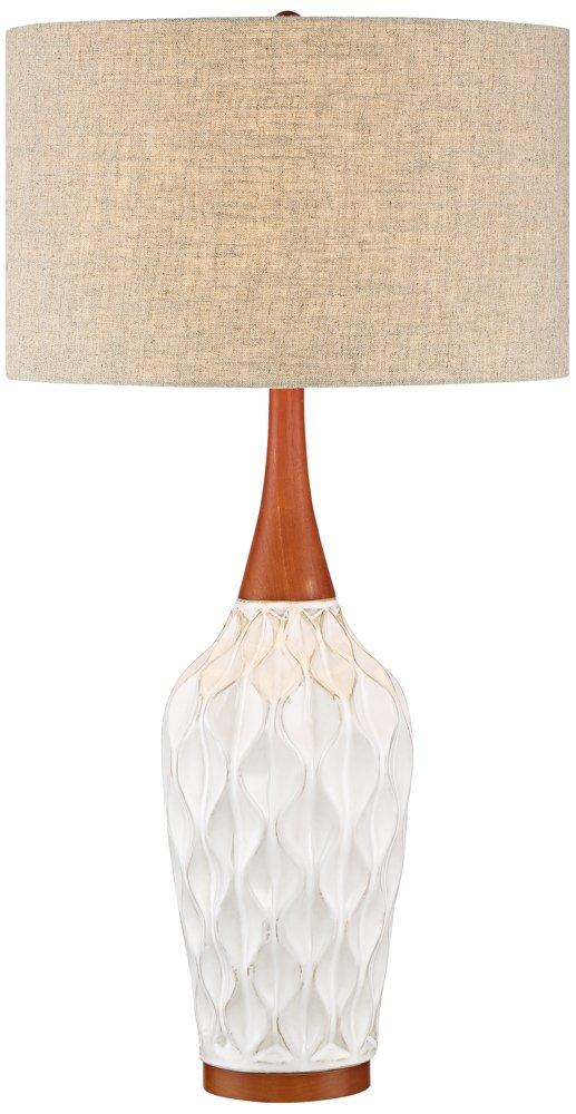 Rocco 30'' High Mid-Century Modern White Ceramic Table Lamp