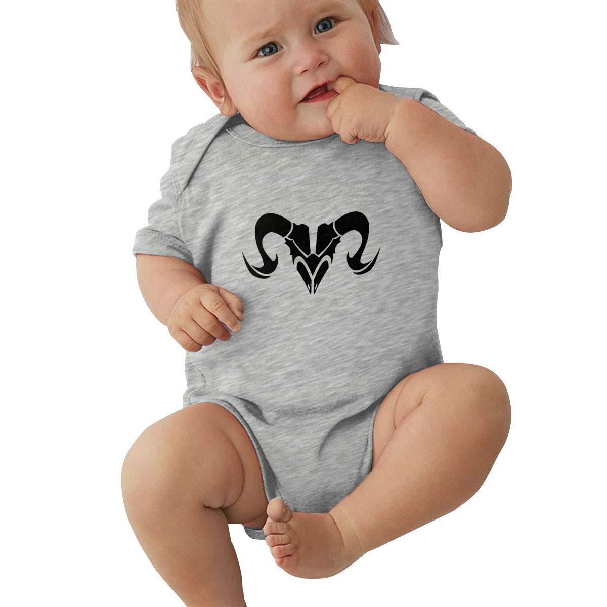 Newborn Baby Boys Bodysuit Short-Sleeve Onesie Zodiac Aries Sign Print Jumpsuit