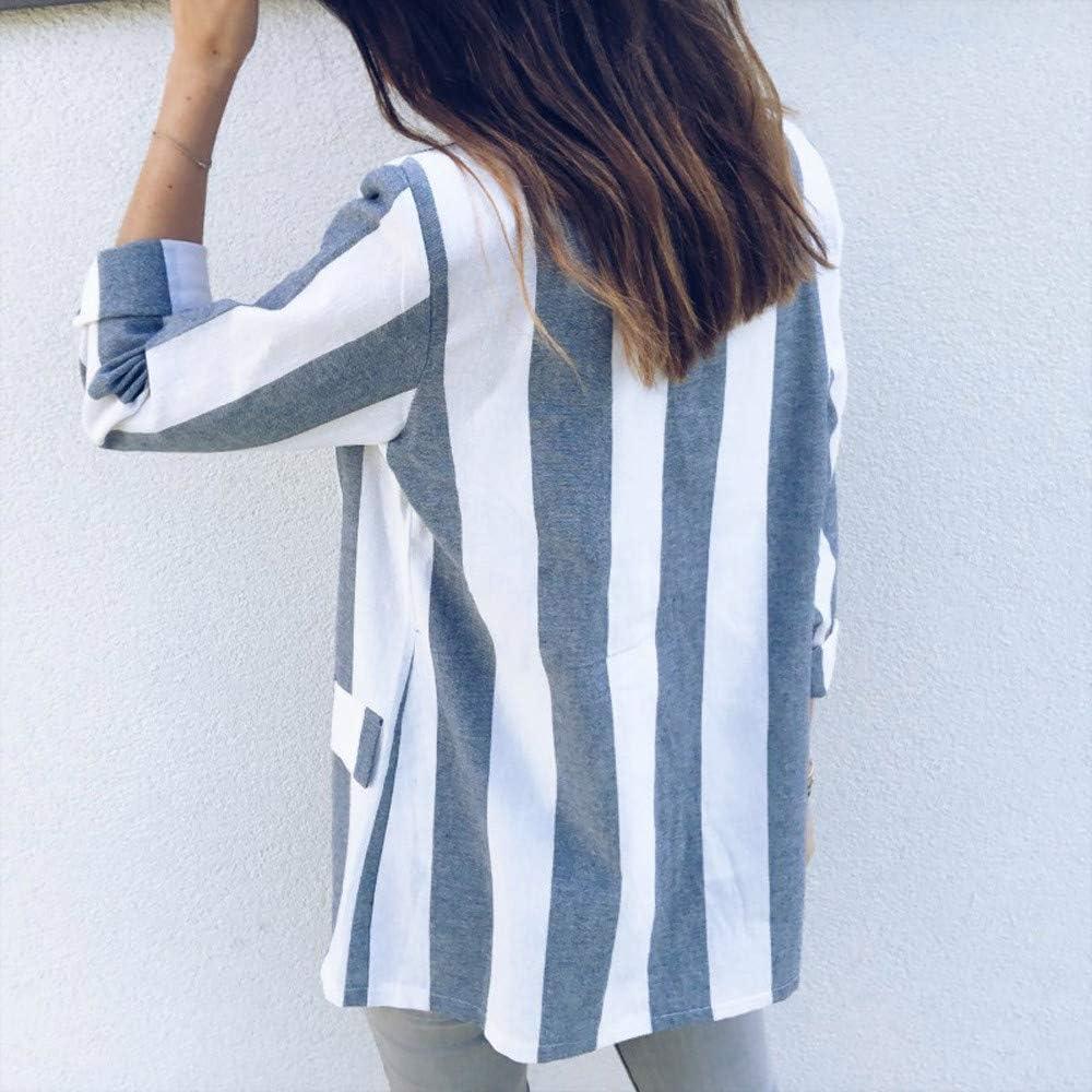 Frauen Anzug Tops Arbeits B/üro Fashion Gestreifte Strickjacke Langarm Slim Fit D/ünne /Übergangsjacke Business Formal Klage Mantel Womens Suit Coat Outwear Battnot Damen Blazer Elegant Kurz Blau S-XL