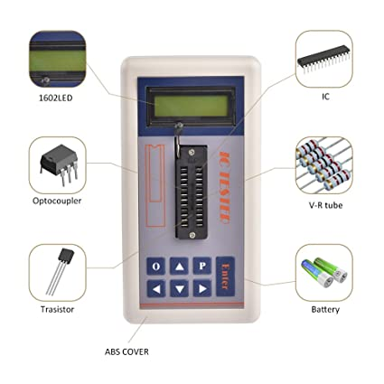 IC transistor probador con LCD Pantalla Digital medidor de circuito integrado mantenimiento automático Detecta Mos NPN