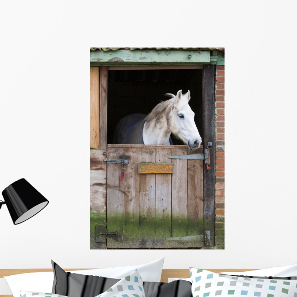 WM243886 18 in H x 12 in W Wallmonkeys Horse Stable Wall Mural Peel and Stick Graphic