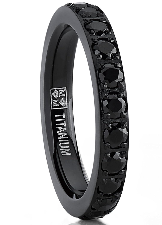 3MM Ladies Black Titanium Eternity Engagement Band, Wedding Ring with Black Pave Set Cubic Zirconia TIR-1233