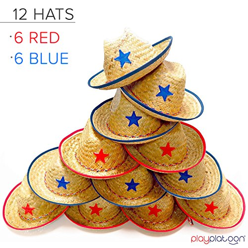 Dozen Straw Cowboy Hats with Cowboy Bandanas (6 Red & 6 Blue) for Kids - Makes Great Birthday Party Hats for Boys and Girls by Play Platoon (Image #4)
