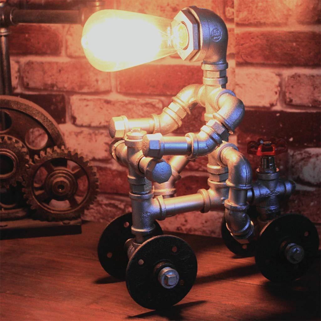 Jahrgang Roboter Tabelle Lampe, Industriell Retro Beleuchtung Kreativ Zuhause Studie Schlafzimmer Steampunk Wasserrohr Desktop Beleuchtung E27 Schreibtischlampe Fixture, Schalter Taste,382513CM