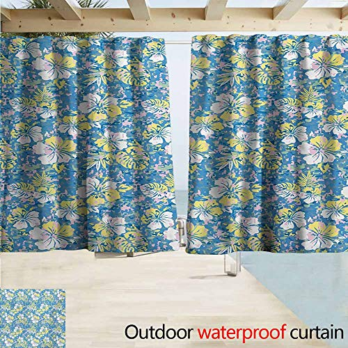 AndyTours Rod Pocket Top Blackout Curtains/Drapes,Camouflage Hawaiian Pattern Exotic Tropical Hibiscus Flowers Foliage Abstract Nature,Simple Stylish Waterproof,W72x45L Inches,Blue Yellow Pink