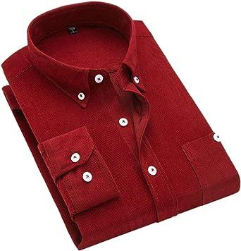 ShuangRun - Camisa de Pana para Hombre, Manga Larga, Estilo Informal, con Botones Rojo Rojo Vino M: Amazon.es: Ropa y accesorios