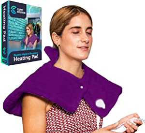 Cure Choice Electric Heating Pad for Neck & Shoulders, Ultra Soft Heating pad for Muscle Cramps – Heated Pad with Adjustable Temperature Settings, Safe Auto Shut Off. (Purple)