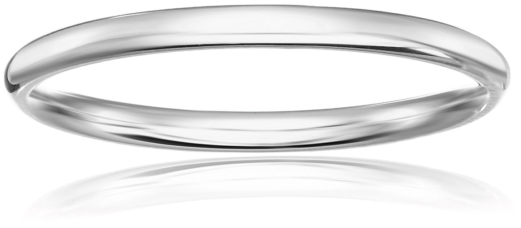 Standard Comfort-Fit 10K White Gold Band, 2mm, Size 6.5