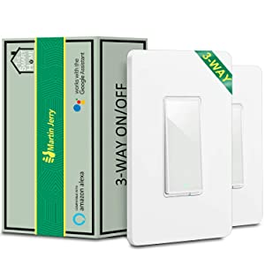 3 Way Smart Switch by Martin Jerry, 2 Pack, Compatible with Alexa, Smart Home Devices Works with Google Home, 2.4G WiFi, No Hub, Works with Existing 3-Way 4-Way Light Switch