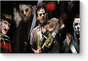 """HAOSHUNDA Texas Chainsaw Massacre Horror Movies Flim Oil Painting on Canvas Posters and Prints Decoracion Wall Art Picture Living Room Wall (12"""" x 18"""", Artwork - 02)"""
