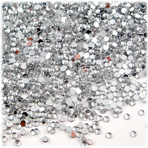 The Crafts Outlet 2500-Piece Loose Flatback Acrylic Round Tiny Rhinestones for Nails, 2mm, Crystal Clear (Flat Mirror Acrylic)