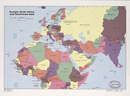 Amazon.com: 1986 map Europe, North Africa, and Southwest ...