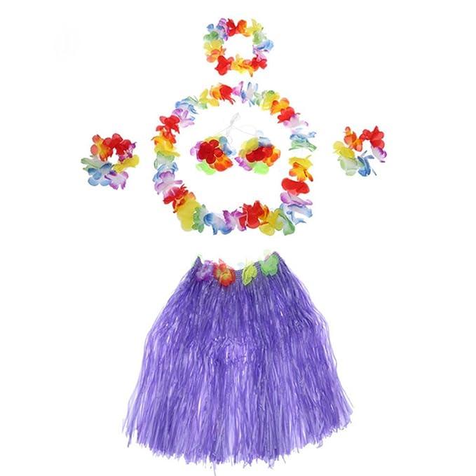 Leisial 6pcs Mujer Falda de Hierba con Flores Hawaiana Vestido de ...