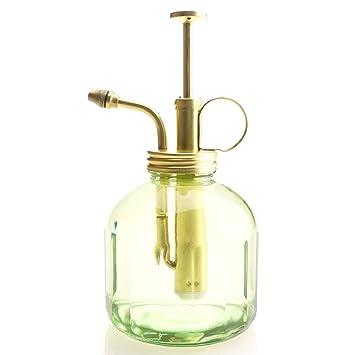 Purismo Estilo Planta Señor - Botella de vidrio de color verde y rociador de latón (