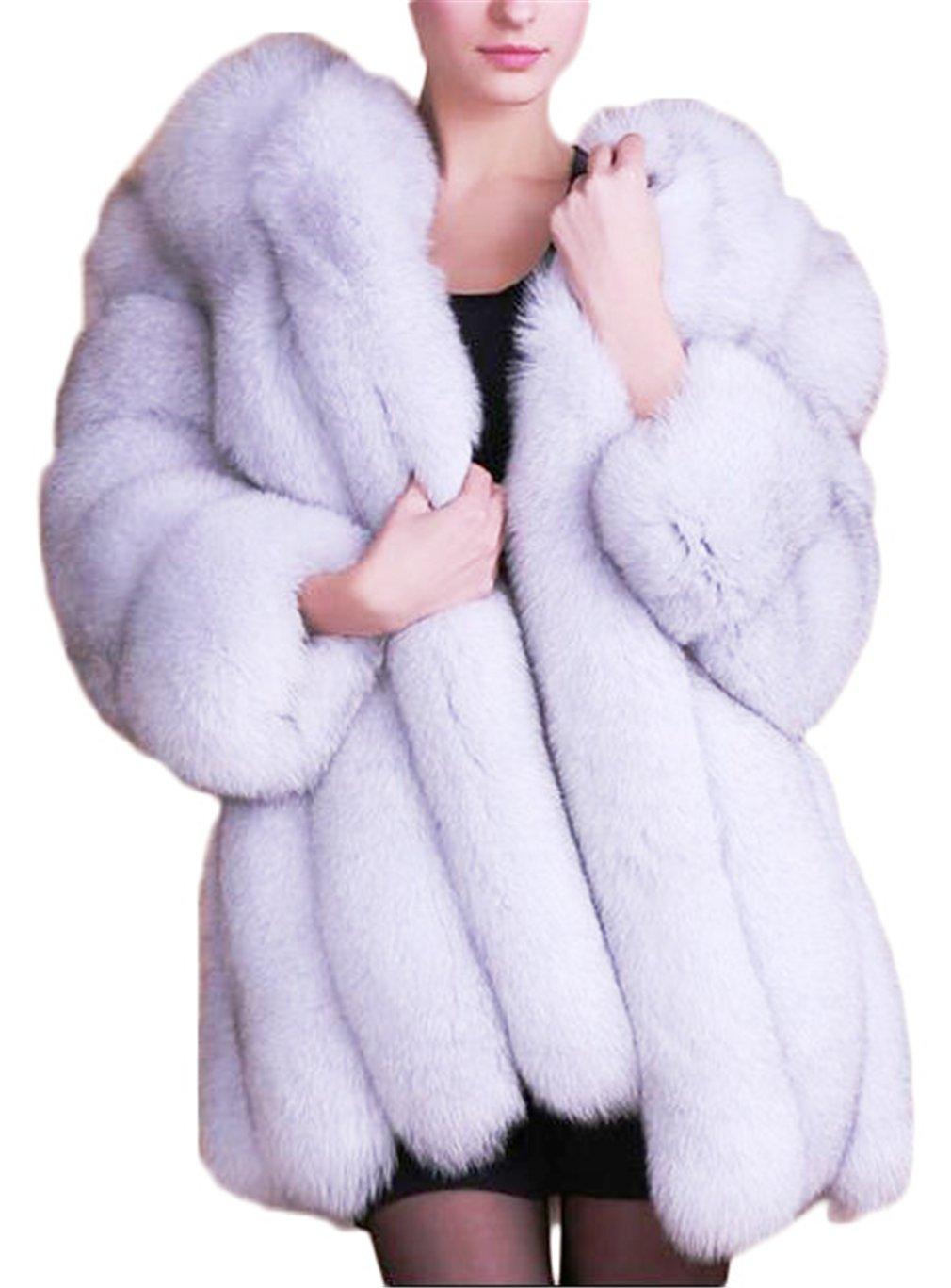 Women's Winter Thick Outerwear Warm Long Fox Faux Fur Coat