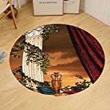 Gzhihine Custom round floor mat Gothic Greek Style Scene Climber Pillow Fruits Vine and Red Curtain Ancient Figure Sunset Bedroom Living Room Dorm Multicolor