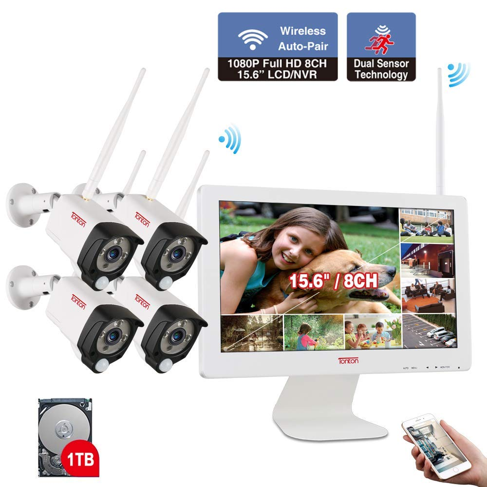 [Audio Recording] Tonton Expandable All-in-One Full HD 1080P Security Camera System Wireless with 15.6'' Monitor,8CH WiFi NVR with 1TB HDD, 4PCS 2.0 MP Outdoor Indoor Bullet IP Cameras with PIR Sensor