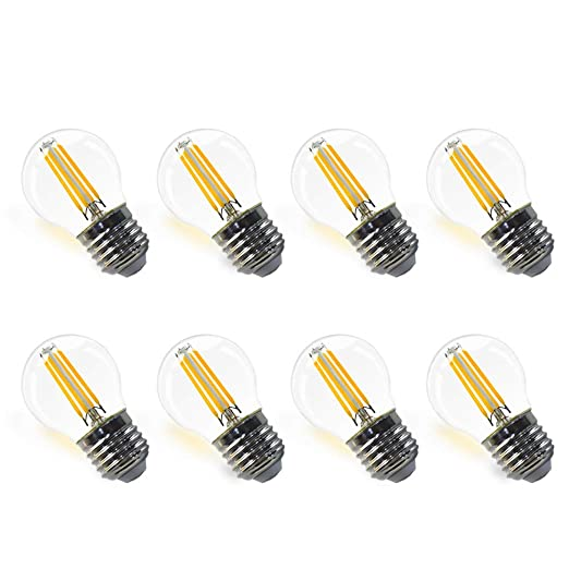 Lamparas Bombillas de Filamento Globo E27 LED G45 4W Iluminacion Blanco Calido 2700K Diametro 45MM Equivalencia