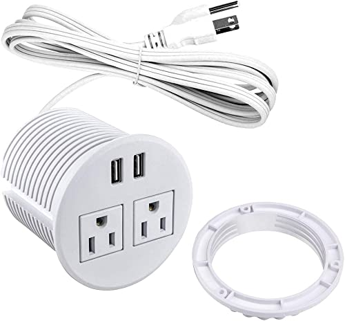 Power Grommet with USB for Desk Desktop Power Data Outlet with 2 AC Outlets and 2 USB Ports 6 ft Heavy Duty Power Cord White
