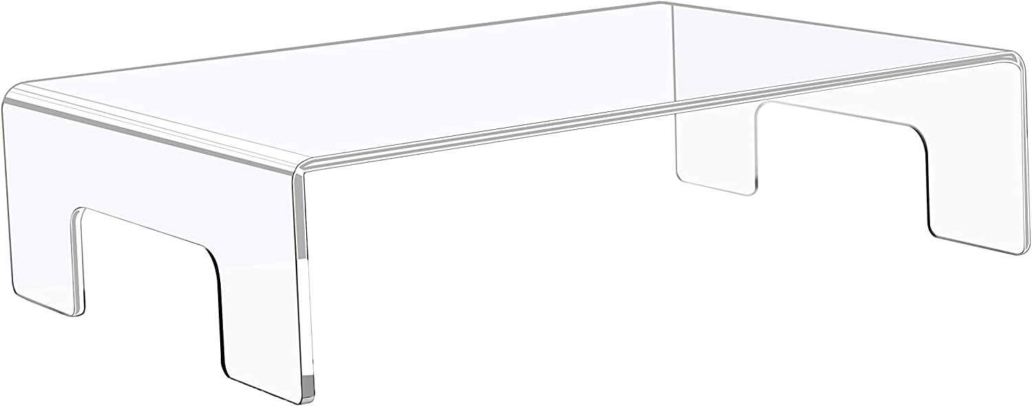Jusalpha Clear Acrylic Display Riser with Tray Handles for Laptop, Food Display, 3