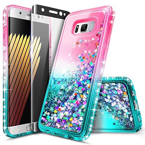 Galaxy S8 Plus Case, NageBee Glitter Liquid Bling Floating Quicksand Waterfall Diamond Women Kids Girls Cute Case w/[Full Cover Soft Screen Protector] for Samsung Galaxy S8+ /S8 Plus -Pink/Aqua