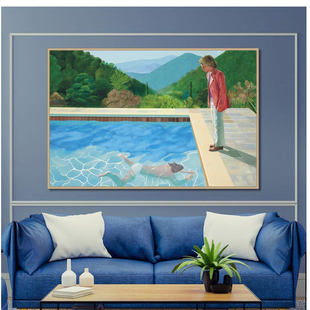 Sin marco David Hockney Pool con dos figuras Lienzo Decoraci/ón para el hogar Carteles e impresiones de pared Arte Imagen Sala de estar Impresiones-50x70cmx1pcs