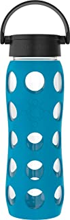 product image for Lifefactory 22-Ounce BPA-Free Glass Water Bottle with Classic Cap and Protective Silicone Sleeve, Teal Lake