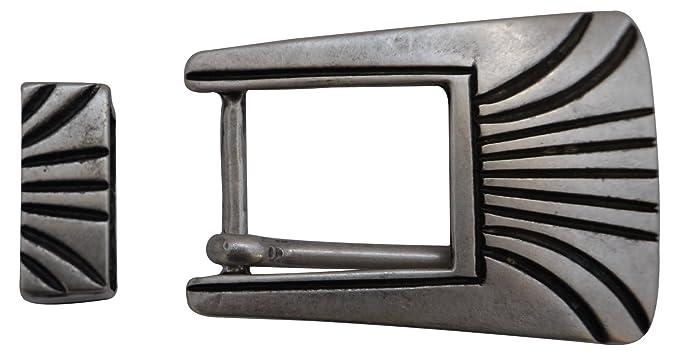 d50f0af58974 Fronhofer Boucle de ceinture et passant ornementés, rectangulaire,boucle  argentée pour femme, boucle